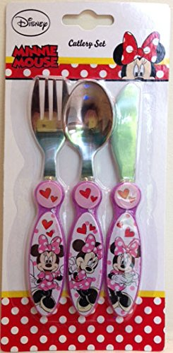 Disney 3-Piece Minnie's Day Out Metal Cutlery Set, Pink DNC UK Ltd 557 851