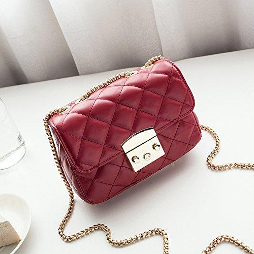 Celosía red GUANGMING77 Cadena Celosía Mini Satchel Square Jujube Rosa Bag Cadena Bolsa De Bolsa Bag 6Sqxw4aSE