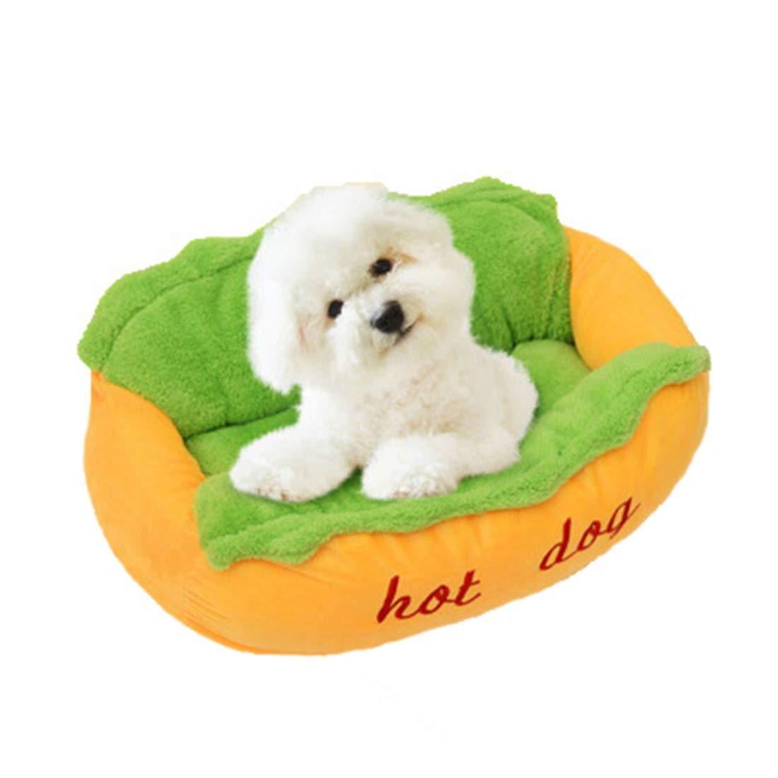 TRE Creativo Hot Dog Dog Dog Forma Canile Breve Peluche Nido Di Gatto Tappeto Per Animali Domestici Pulizia Rimovibile Fondo Antiscivolo Confortevole Soft   2 Dimensioni acf67c