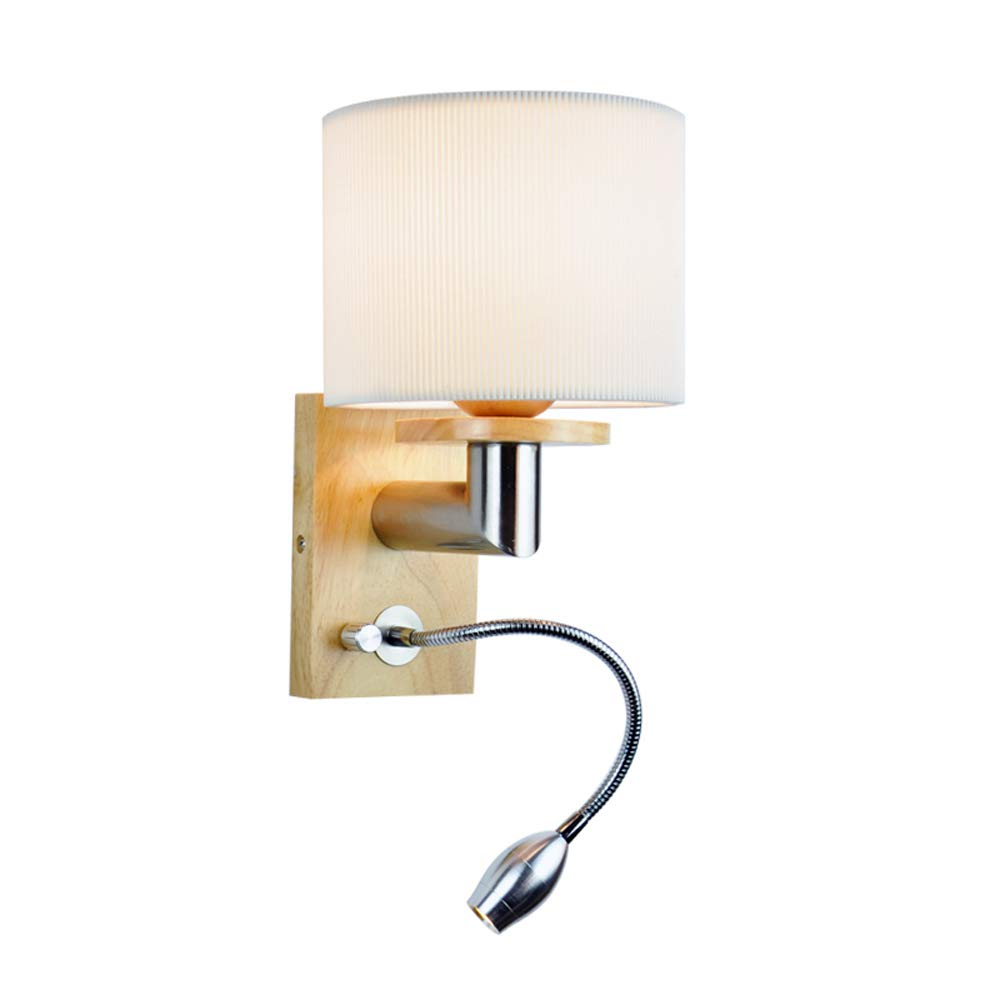 Weiß Light Wandleuchte aus massivem Holz moderne pastorale Wind Wandleuchte Stoff LED energiesparende Augenschutz Nachtbeleuchtung (Design   Weiß light)