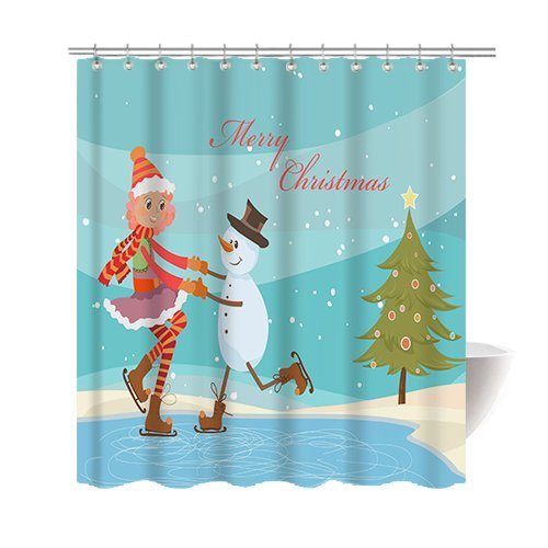 Gwein Christmas Theme Christmas Merry Christmas Snowman Christmas Tree Shower Curtain Polyester Fabric Mildew Proof Waterproof Cloth Shower Room Decor Shower Curtains 66x72 (Clip Christmas Art Tree Merry)