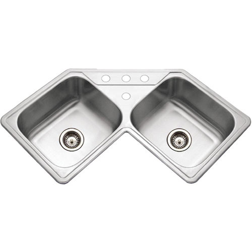 houzer lcr 3221 1 legend series topmount stainless steel corner bowl kitchen sink single bowl sinks amazoncom. Interior Design Ideas. Home Design Ideas