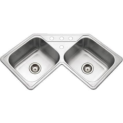 Houzer LCR 3221 1 Legend Series Topmount Stainless Steel Corner Bowl Kitchen  Sink
