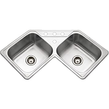 houzer lcr 3221 1 legend series topmount stainless steel corner bowl kitchen sink. Interior Design Ideas. Home Design Ideas