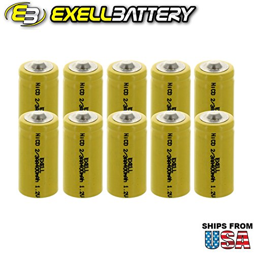 10x Exell 2/3AA 1.2V 400mAh NiCD Button Top Rechargeable Batteries for high power static applications (Telecoms, UPS and Smart grid), electric mopeds, meters, radios, RC devices, electric tools