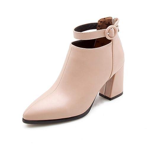 Botines para Mujer Punta Estrecha Tacón Cuadrado Moda Hebilla Cremallera Botas Altas: Amazon.es: Zapatos y complementos