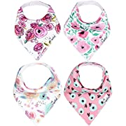 """Baby Bandana Drool Bibs for Drooling and Teething 4 Pack Gift Set For Girls """"Bloom Set"""" by Copper Pearl"""
