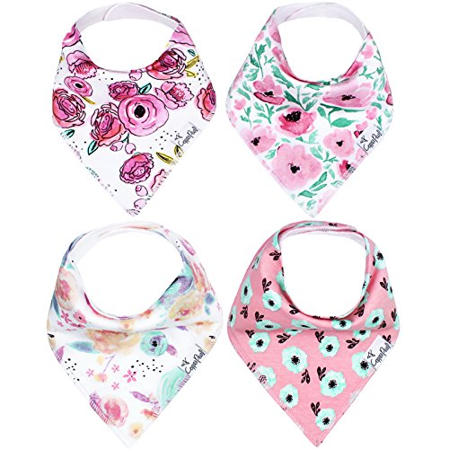 "Baby Bandana Drool Bibs for Drooling and Teething 4 Pack Gift Set For Girls ""Bloom Set"" by Copper Pearl by Copper Pearl"