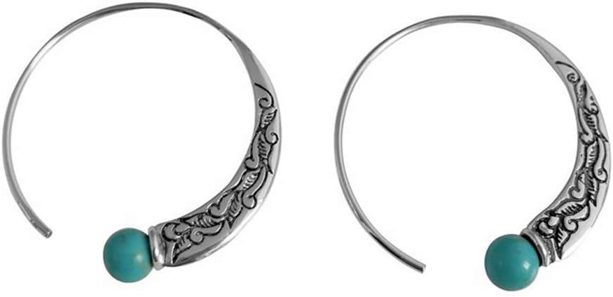 CHENJBO 새로운 복고풍 타이어 실버 터키석 귀걸이 유럽과 미국의 여성 펑크 귀걸이 BOHO 귀걸이