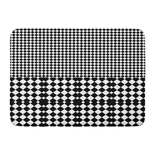 YGUII Doormats Bath Rugs Outdoor/Indoor Door Mat Angular Black White Squares and Rhombuses Optical Alternating Parallel Tartan Bauhaus Bathroom Decor Rug Bath Mat 16X23.6in (40x60cm)