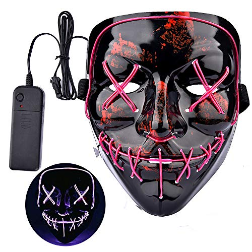 LEADERPAL Halloween Scary Mask Cosplay Costume Mask LED Light Up Mask for Adult Festival Parties-Purple -