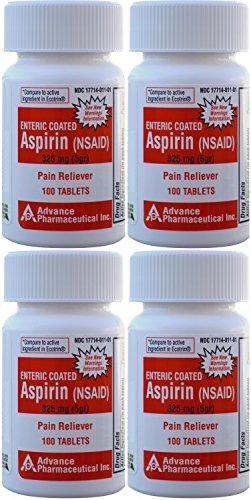 - Aspirin Adult Regular Strenght Enteric Coated 325 mg Generic for Ecotrin Bayer Aspirin 100 Tablets per Bottle Pack of 4 Bottles Total 400 Tablets