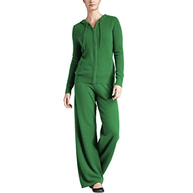 e10f1d6a3f5 Parisbonbon Women s 100% Cashmere Sweater and Pants Set Color Apple Green  Size 0X