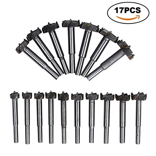TargetEvo 17Pcs 15mm-35mm Forstner Drill Bits Set Wood Boring Bit Woodworking Hole Saw Forstner Bits