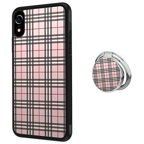 (Hynina Phone Case and Phone Ring Buckle Compatible for iPhone Xr - Tartan Plaid Pattern)