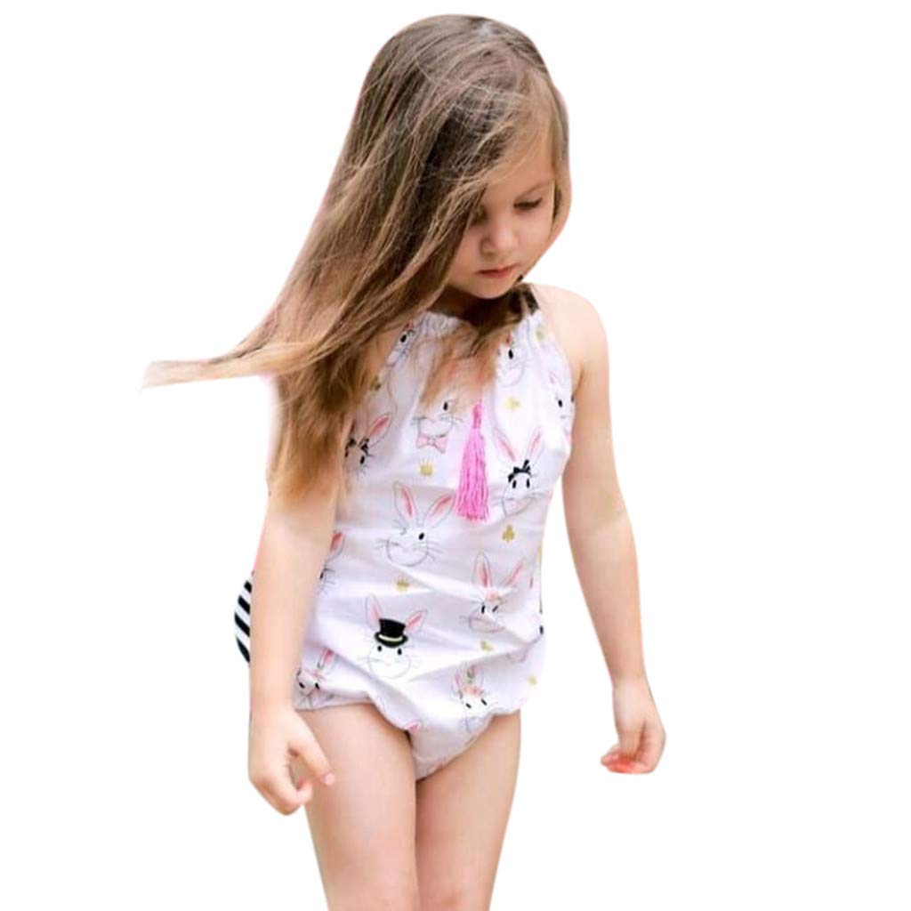 Mysky Fashion Newborn Baby Girl Summer New Lovely Bunny Halter Backless Bowknot Cotton Romper Bodysuit Clothes White