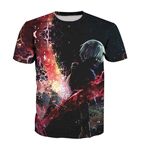 RNGEDG Unisex Shirts Tokyo Ghouls Ken Kaneki 3D Print Spots T-Shirts Fashion T-Shirts(1,XL) -