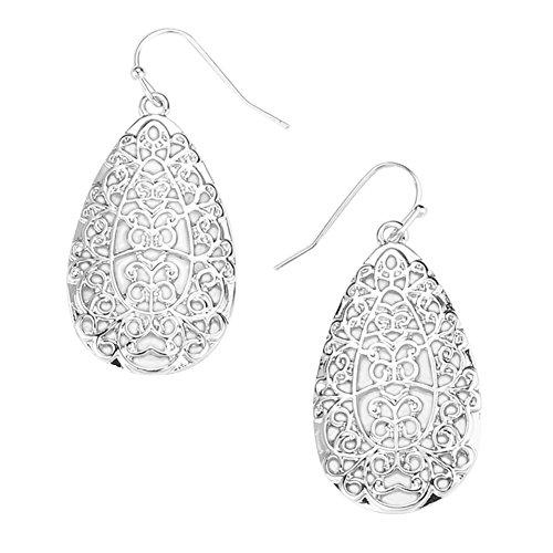 """Open Scroll Design Earrings - Ornate Lacy Scroll & Curlicue Open Work Nouveau Look Silver-Tone Filigree Teardrop Dangle Earrings 1 3/4"""""""