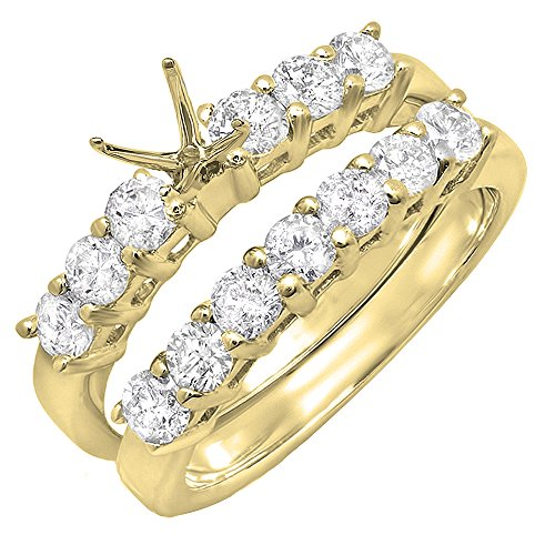 Dazzlingrock Collection 1.00 Carat (ctw) 14K Round Diamond Semi Mount Bridal Engagement Ring Set 1 CT, Yellow Gold, Size 4.5