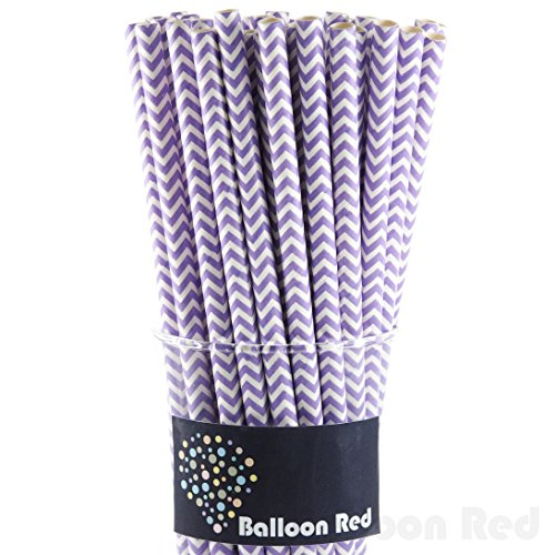 Biodegradable Paper Drinking Straws (Premium Quality), Pack of 100, Chervon - Lavender (Lavender Paper Straws)
