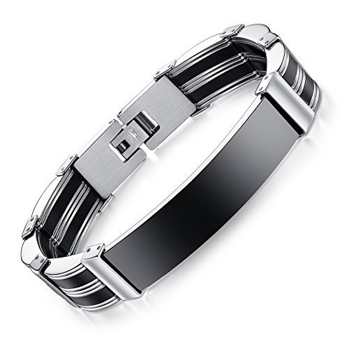ABHISTA Cool Style Black And Silver Plated Stainless Steel Bracelet For Men And Boys