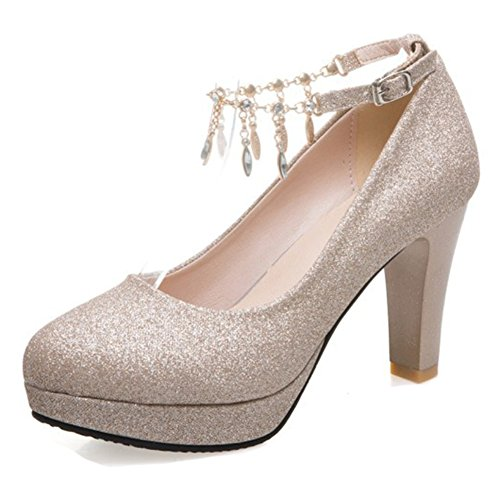 Aisun Women's Rhinestone Low Cut Buckled Dressy Almond Toe Chunky High Heel Platform Ankle Strap Pumps Shoes (Gold, 7.5 B(M) US)