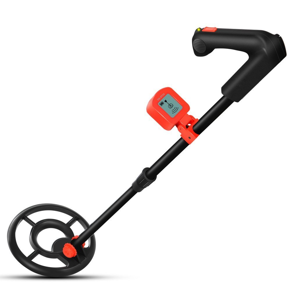 DR.ÖTEK Easy to Operate Lightweight Metal Detector for Kids and Beginners, Sound Mode, LCD Display, Waterproof Coil, High SENS to Detect Gold, Sliver, Coins, Artifacts, for Junior-Red/Black by DR.ÖTEK