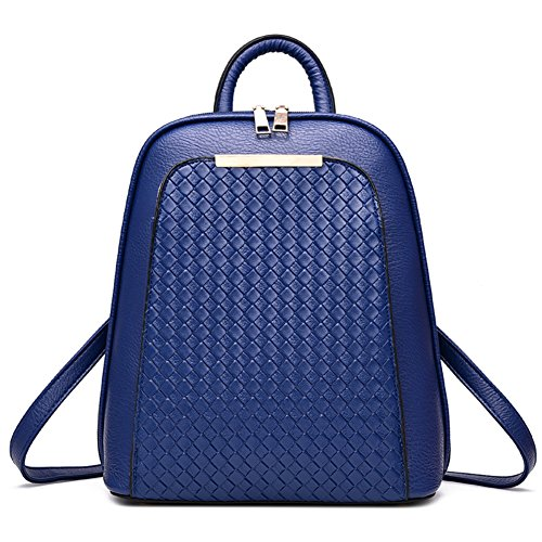 Casual Simple Bag Bag SILI Girls Blue Outdoors Backpack Women's School Style Travel Royal Faux For Purse Leather 7wwRxIgqz