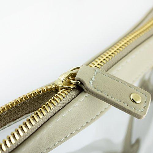 with PVC Large color accents bag Tan Women's Clear Capri Designs Crossbody wqSYxHX6