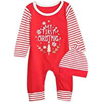 Xmas Outfit Set Baby Boy Girls My First Christmas Romper with Hat
