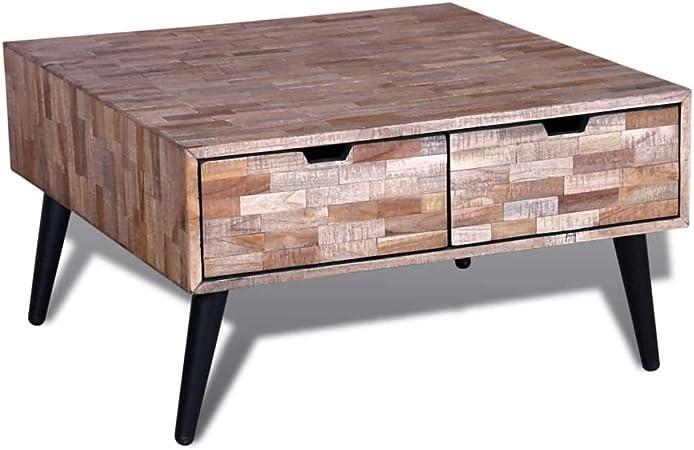Vidaxl Table Basse Avec 4 Tiroirs Teck Recycle Table De Rangement