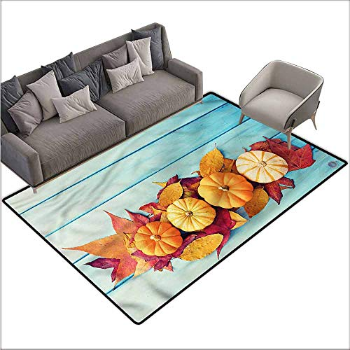 - Anti Slip House Kitchen Door Area Rug Pumpkin,Wooden Table Thanksgiving 60