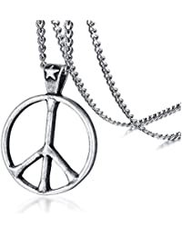 Stainless Steel Classic Peace Sign Love Hippie Pendant Necklace, 24 inch Chain