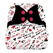 Flip Hybrid Reusable Cloth Diaper Cover with Adjustable Snaps and Stretchy Tabs - Fits Babies from 8 to 35+ Pounds (Be Mine)