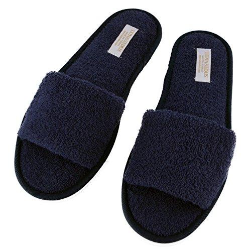 Lunasidus, Womens 100 Percent Turkish Cotton Open Toe Spa Slippers Navy Blue