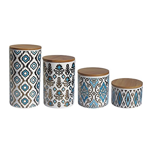 American Atelier 6614-CAN Canister Set (4 Piece), Blue/Gold (Canister Sets Ceramic)