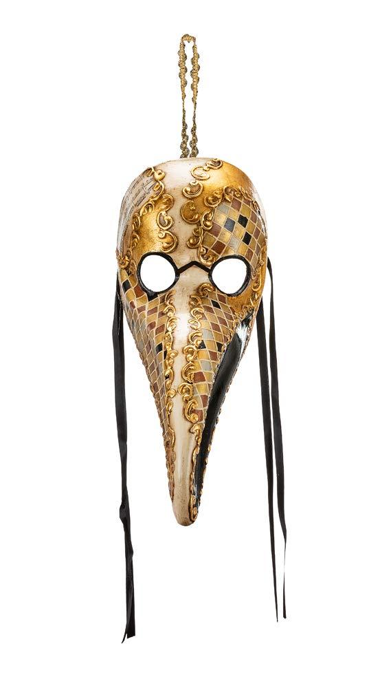 Masque V/énitien Classique M/édecin de la Peste D/écor/é /À La Main Avec Mosa/ïque Noir et Finitions En Feuille DOr Made In Italy