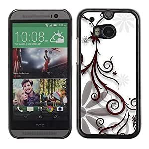 Soft Silicone Rubber Case Hard Cover Protective Accessory Compatible with HTC ONE M8 2014 - Design Floral White