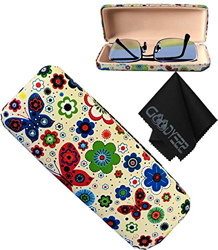 Glasses Case, Hard Shell Stylish Protects Sunglasses Storage For Reading Eyeglasses & Eyewear Clamshell Holder With Cleaning Cloth (Cream - Floral) ()