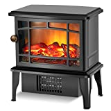 Fireplace Heater - Electric Fireplace Stove w/Fast Heating System, 500W Portable Space Heater for Room with Realistic 3D Fake Fireplace Flame, Overheat Tip-Over Protection for Office Indoor Use