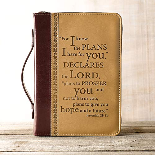 I Know the Plans in Burgundy and Sand Bible Cover - Jeremiah 29:11 - Extra Large