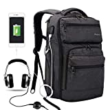 Laptop Backpack with USB Charging Port Headphone Port Business Backpack Fit 15.6/15/14 Inch Laptop,Waterproof Tear Resisting Travel Backpack for College Student Men Women