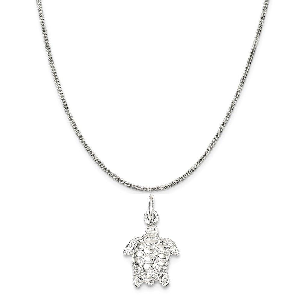 Mireval Sterling Silver Turtle Charm on a Sterling Silver Chain Necklace 16-20