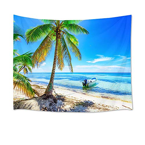 HVEST Ocean Tapestry Boat Stopped on The Sea Water Wall Hanging Green Palm Trees on Tropical Island Tapestries for Bedroom Living Room Dorm Party Decor,60Wx40H inches
