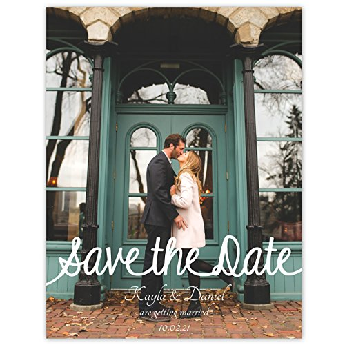 White Writing Photo Save The Date 4 1/4 x 5 1/2 - Set of 20 - Plain White Envelopes Only - Custom Wedding Invitations and Announcements - Personalized Cards by Canopy Street