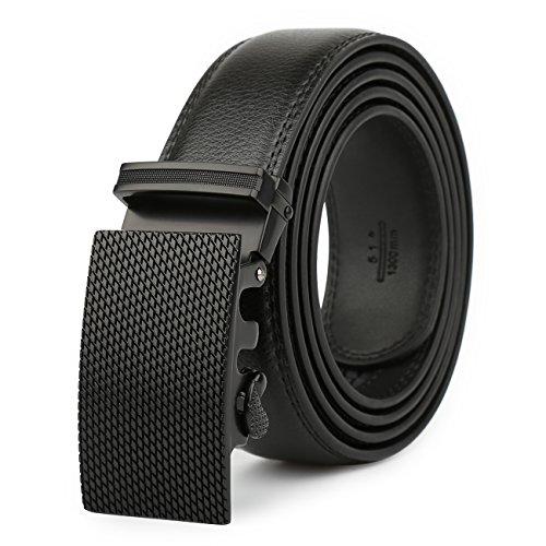 Men's Leather Belt-Ratchet Dress Belt with Automatic Buckle (Alloy Buckle # 55-0030) (Five Buckle)