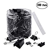 Ihoolee Binder Clips, 100 Pcs Paper Clamp Clips Assorted Sizes, Black