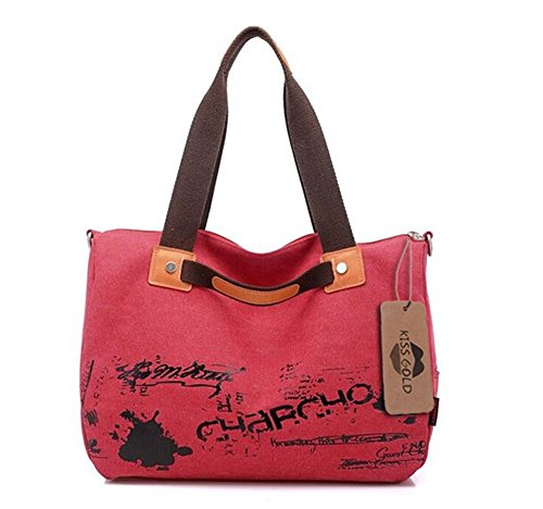 KISS GOLD Simple Cool Canvas Shoulder/Crossbody Bag(Red)