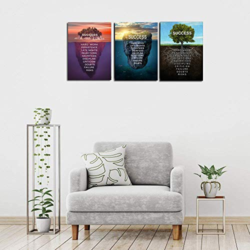 3 Pieces Success Island Value of Tree Motivational Canvas Wall Art - Inspirational Office Wall Art Poster Quotes Canvas Prints Framed Ready to Hang for Home Living Room Office Decor-12