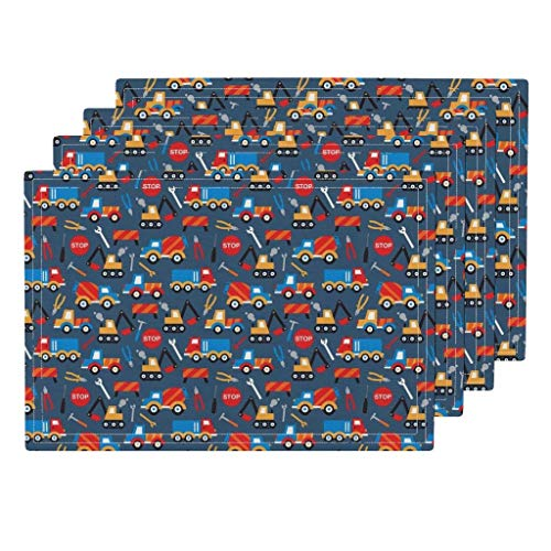 Excavator Truck Eco - Roostery Construction 4pc Eco Canvas Cloth Placemat Set - Boys Tools Truck Car Crane Excavator by Littlesmilemakers (Set of 4) 13 x 19in